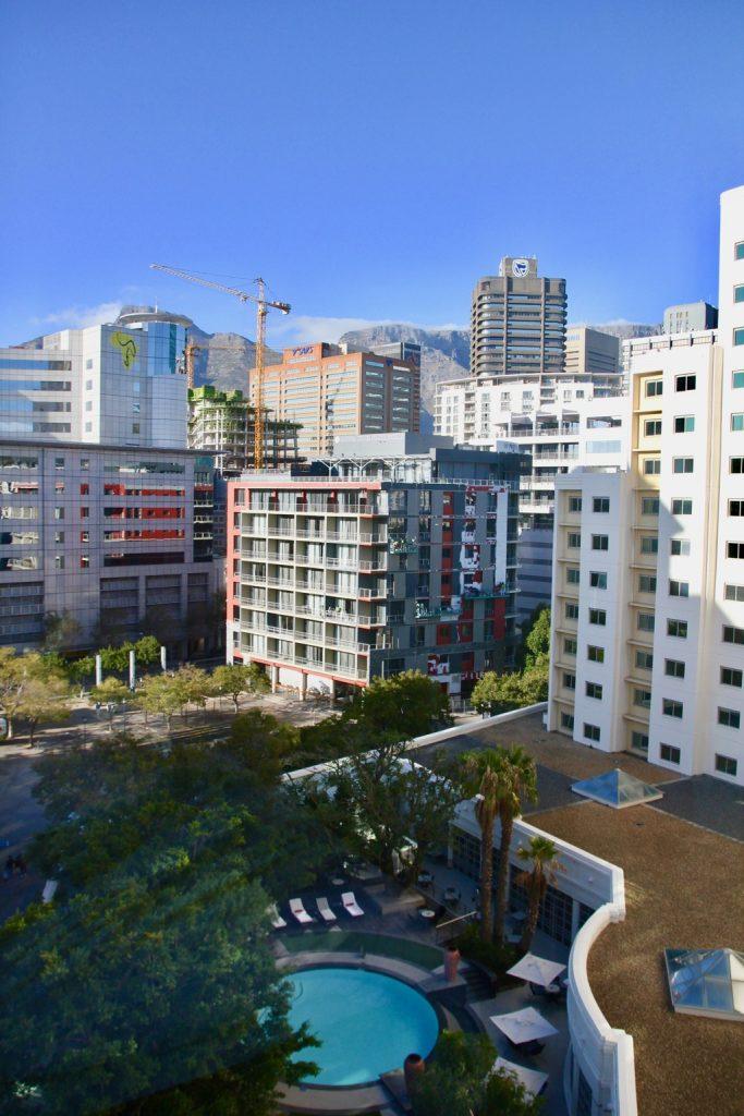 Utsikten från Southern sun waterfront hotel i Kapstaden.